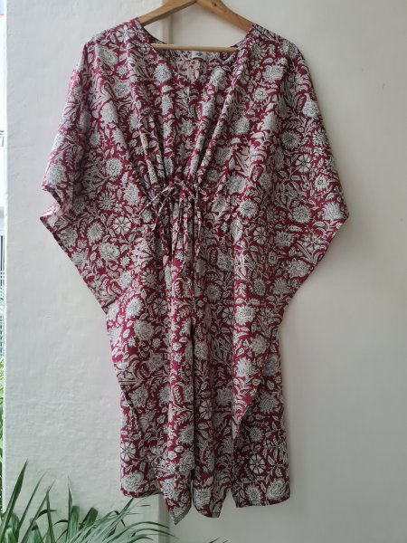 Rasika Hand Block Printed Short Cotton Kaftan
