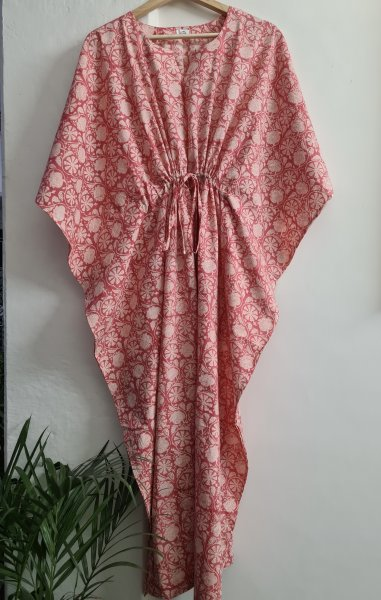 Pink Printed Cotton Regular Kaftan