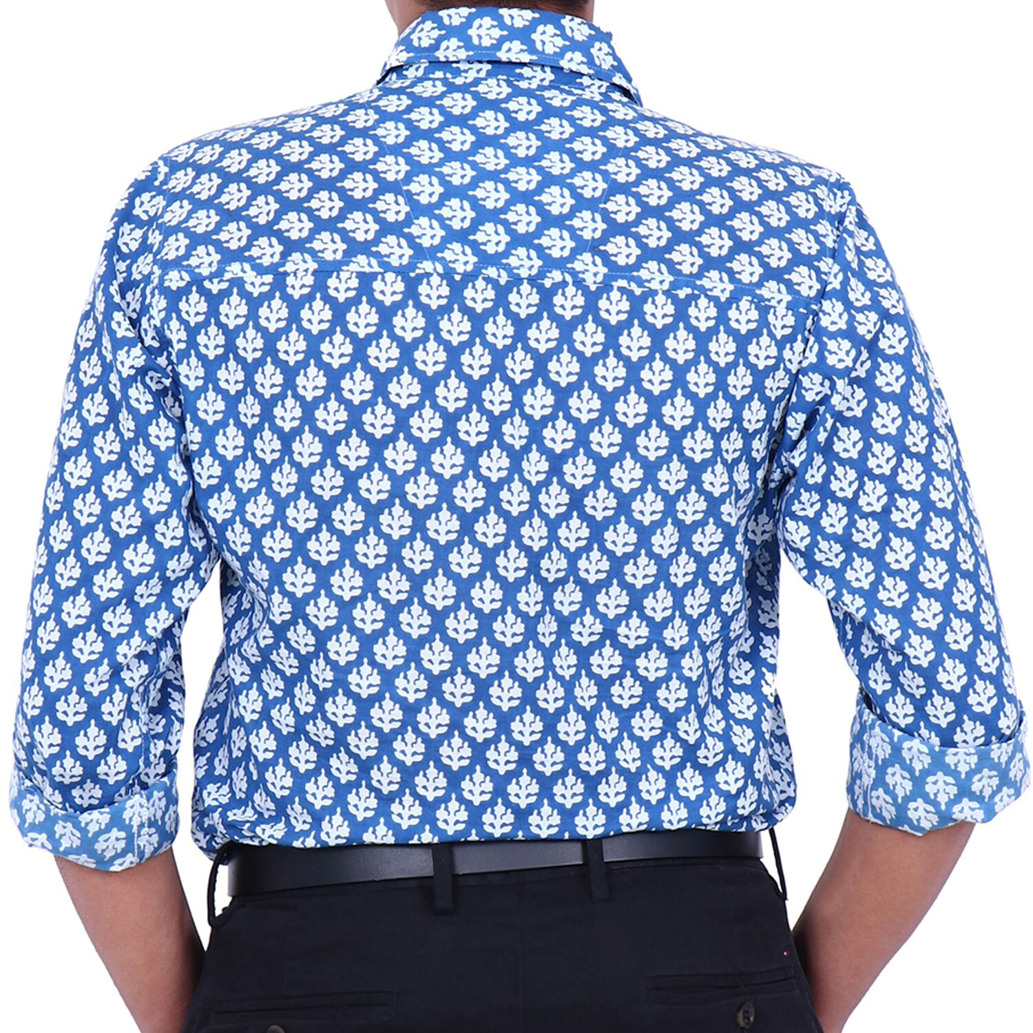 Royal Design  Blue Coloured Collared Full Sleeve Cotton Shirt