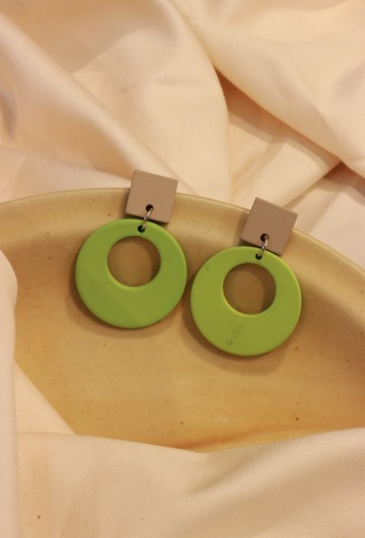Square Round Drop EarRings