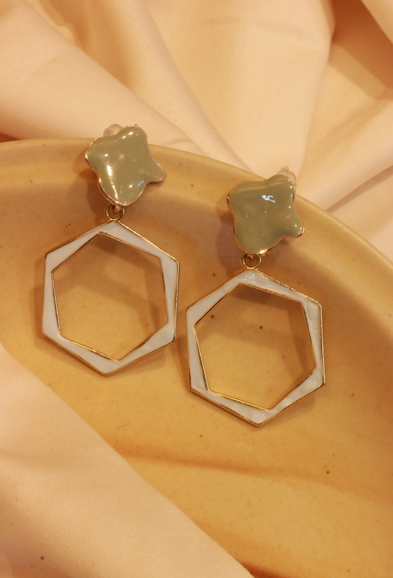 Bedazzled Octagonal Drop EarRings