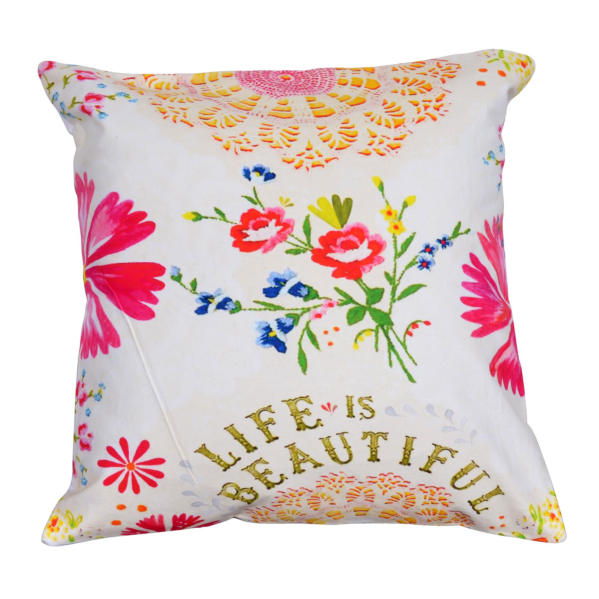 "Life is Beautiful 16"" Digital Print Cushion Cover"