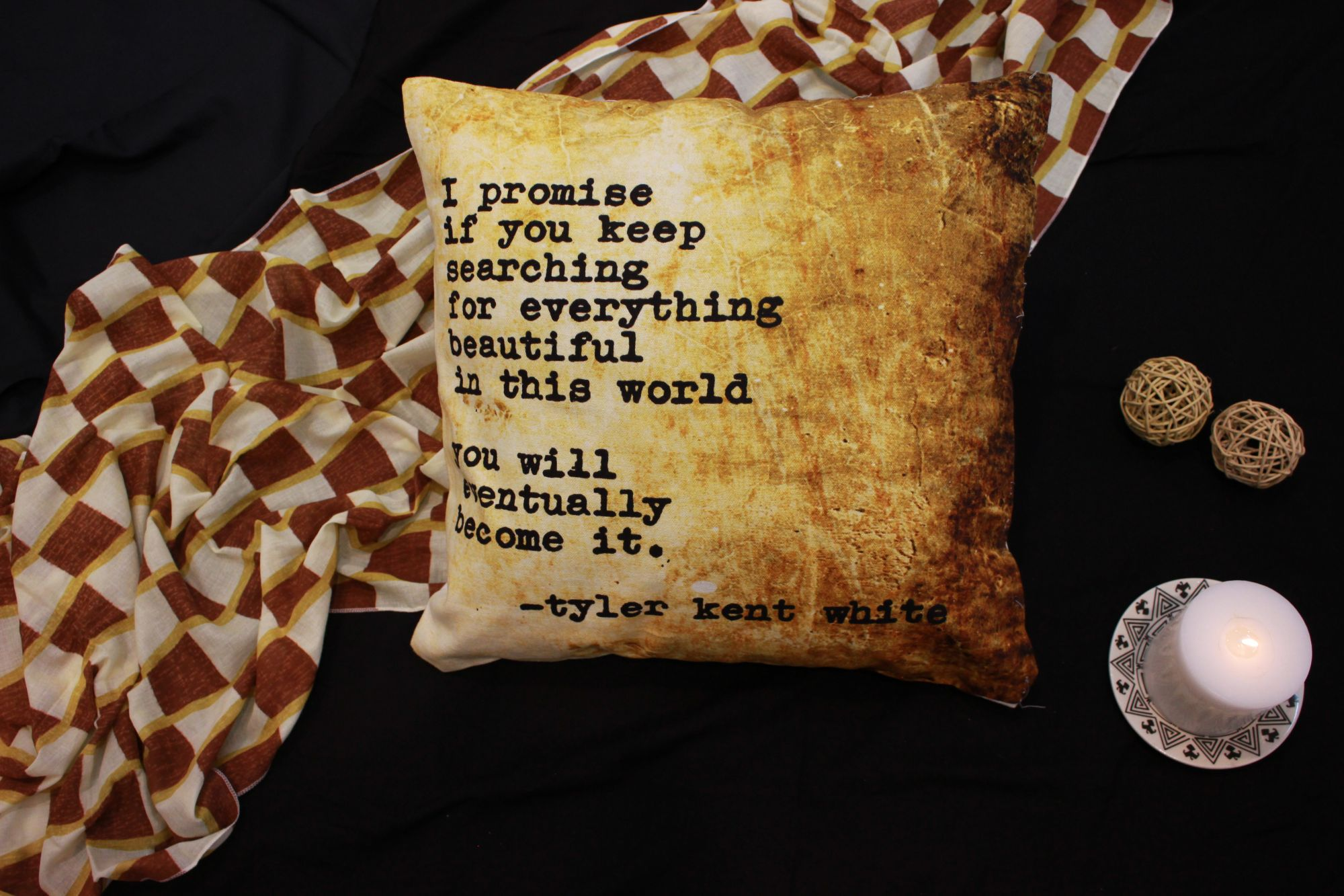 Soulful Promises Cotton Cushion Cover 16""