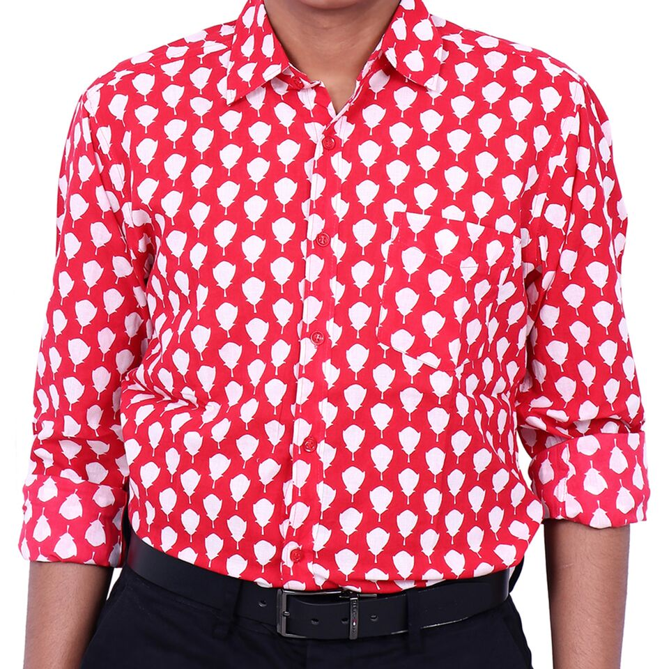 Red Lotus Cotton Printed Collared Full Sleeve Shirt