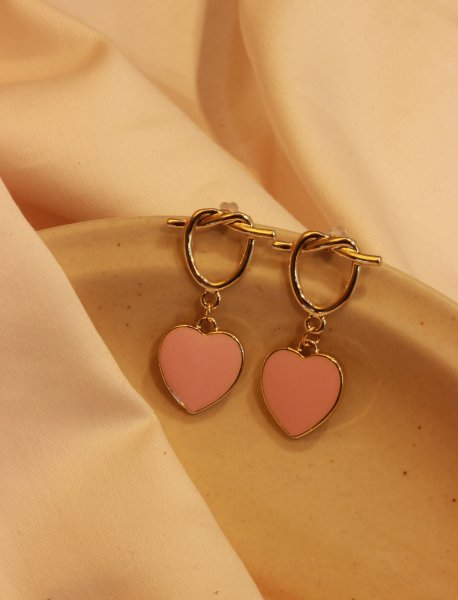 Twisted Peach Heart Drop EarRings