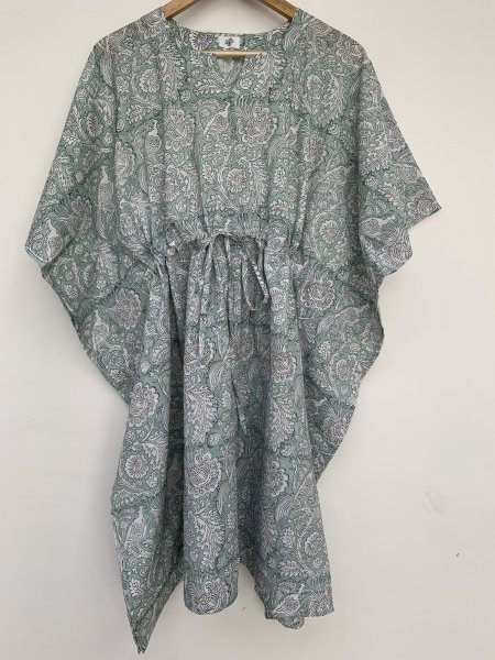 Saumya Hand Block Printed Cotton Short Maternity Kaftan