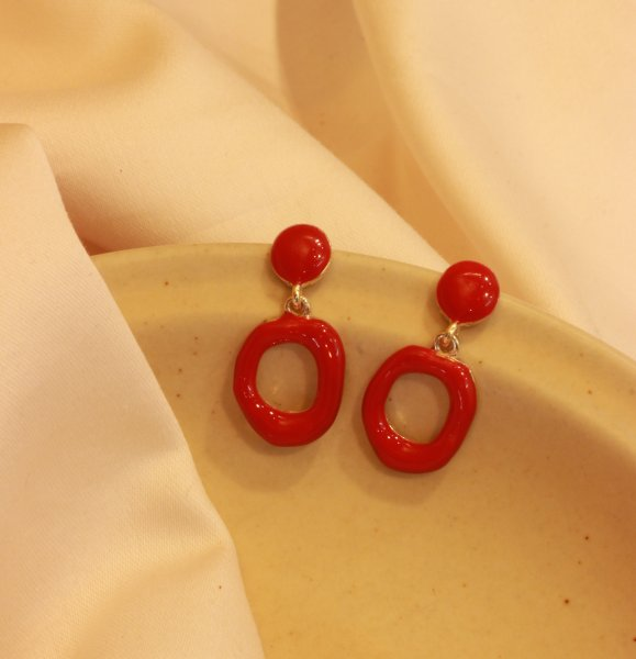 Red Geometric Drop EarRings