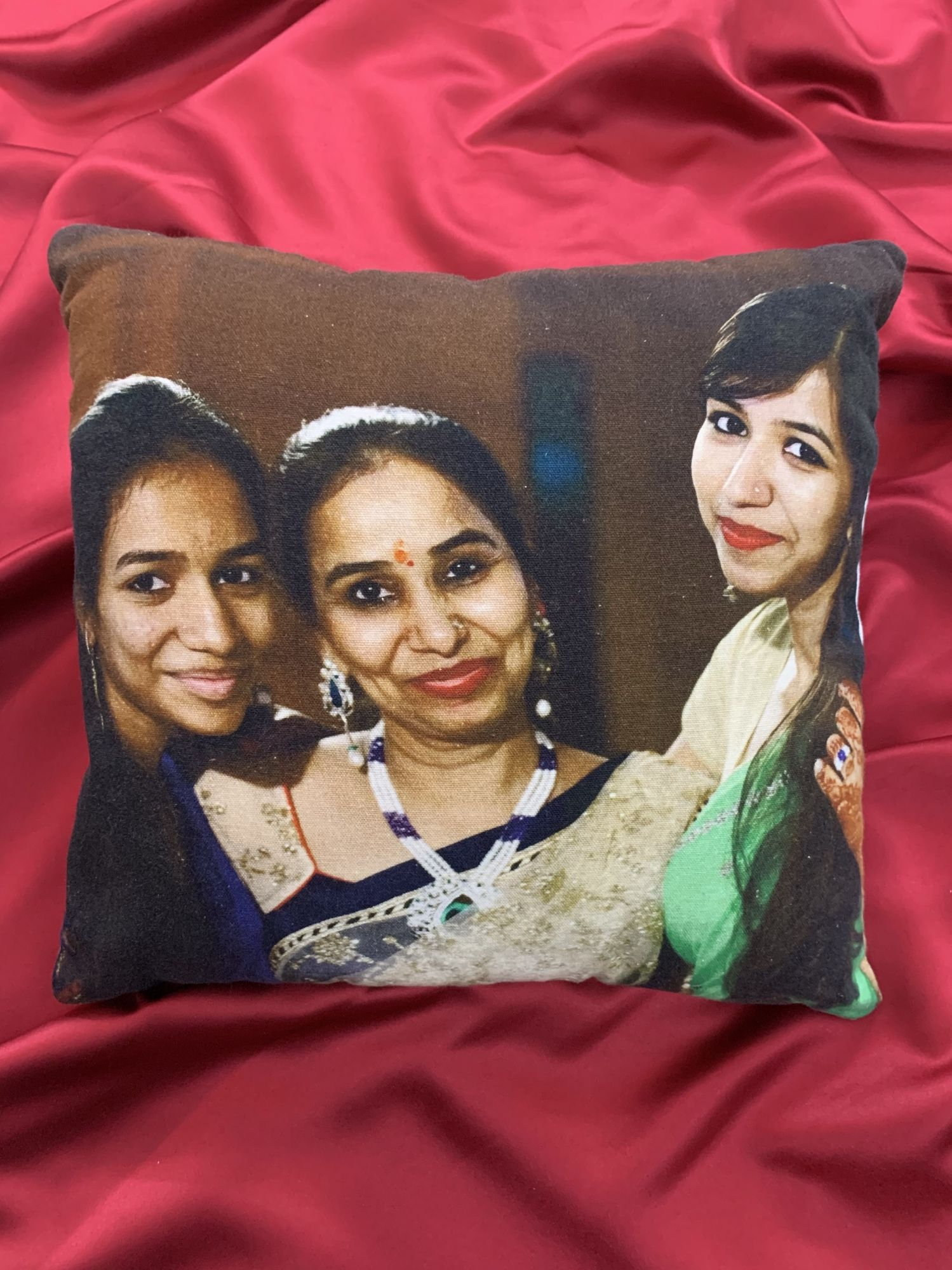 "Personalised Photo Digital Print Cotton Cushion ( 16 x 16"")"