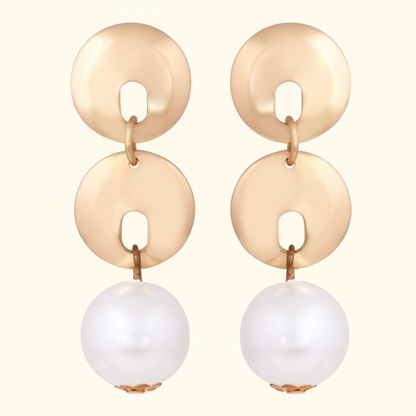 Round Decor Faux Pearl Metal Drop EarRings