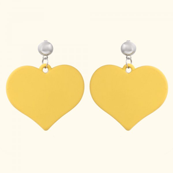 Yellow Heart Drop EarRings