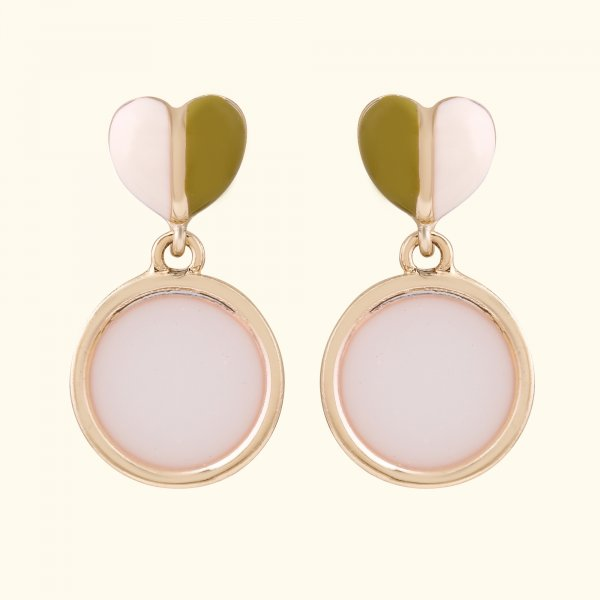Pastel Two Tone Round Heart Drop EarRing