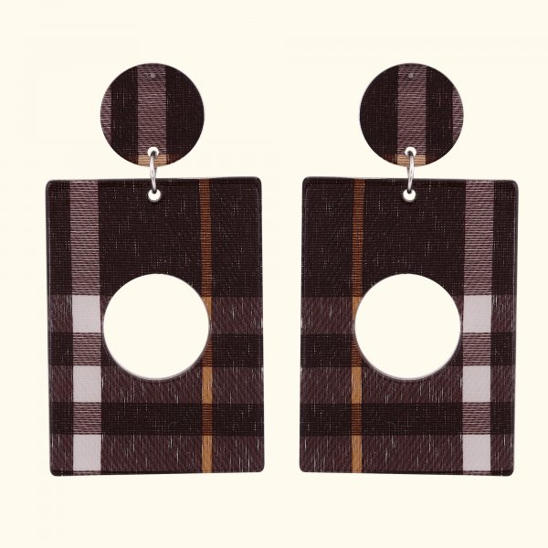 Geometric Checks Drop EarRings