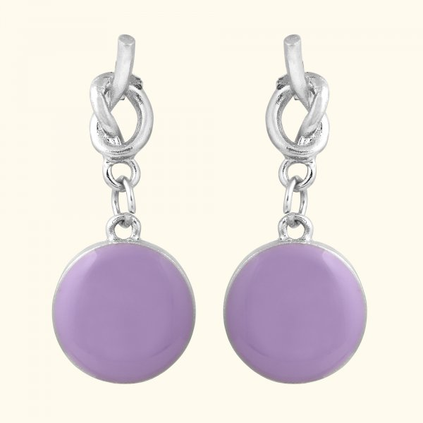 Purple Pastel Pomp Drop EarRings