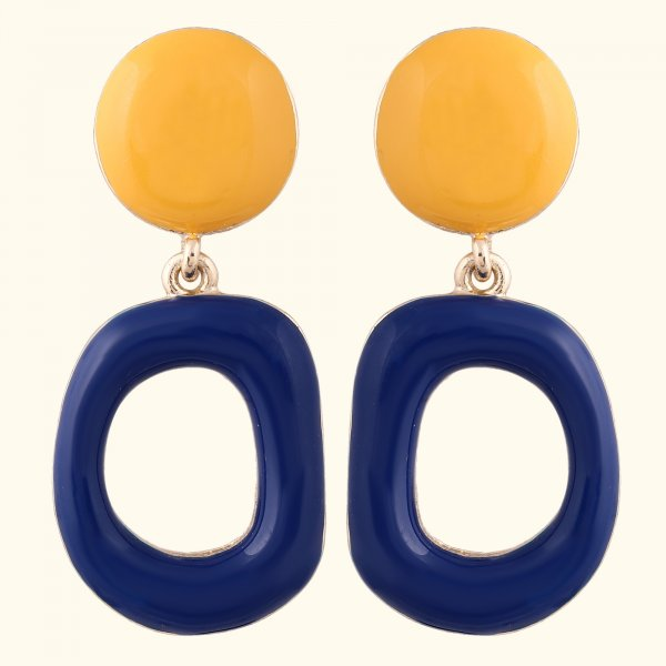 Two Tone Geometrical Drop EarRings