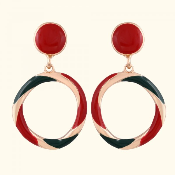 Red Round Drop EarRings