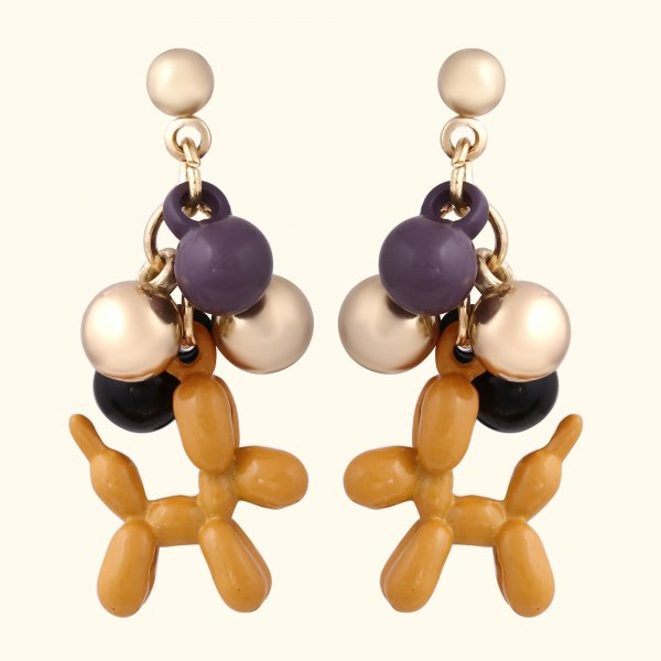 Dog Lover Metal Ball Drop EarRings