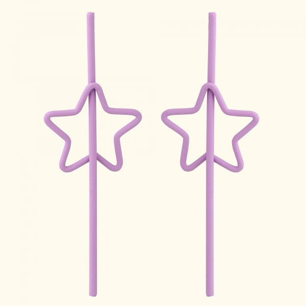 Purple Star Drop Ear Rings