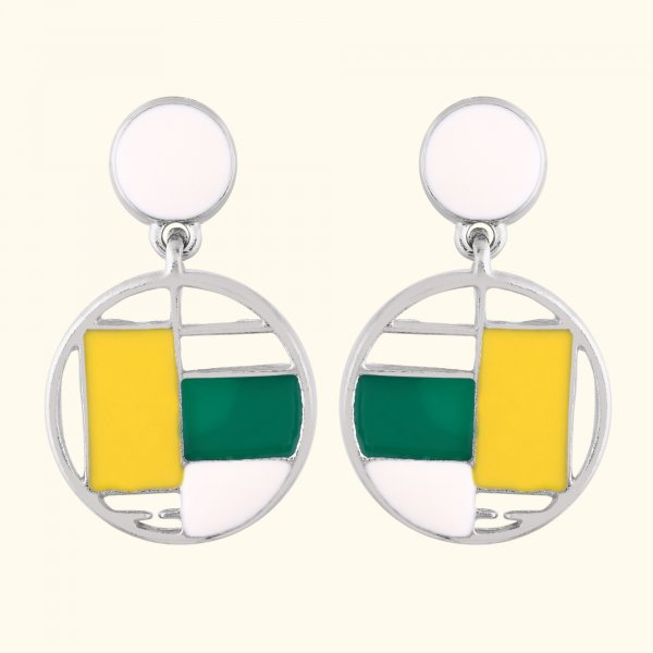 Two Tone Geometirc Round EarRings