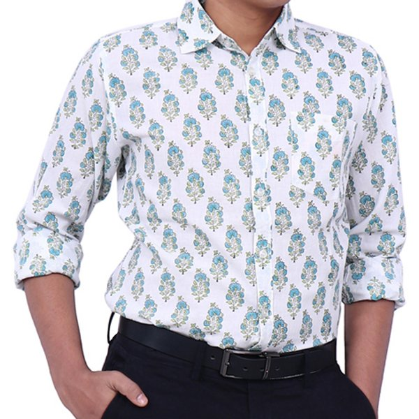 Floral Print Collared Full Sleeve Cotton Shirt