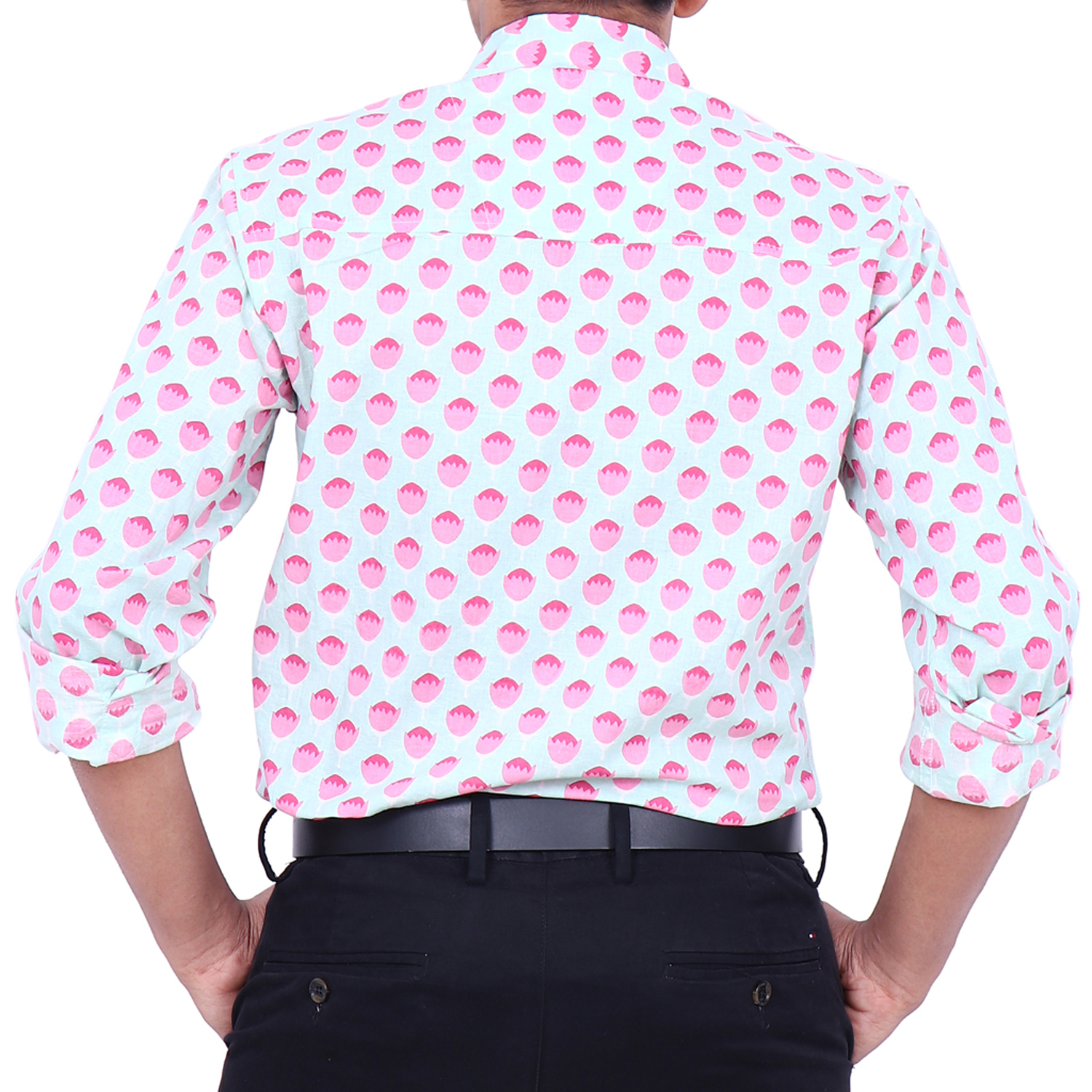 Pink Lotus Print Cotton Shirt