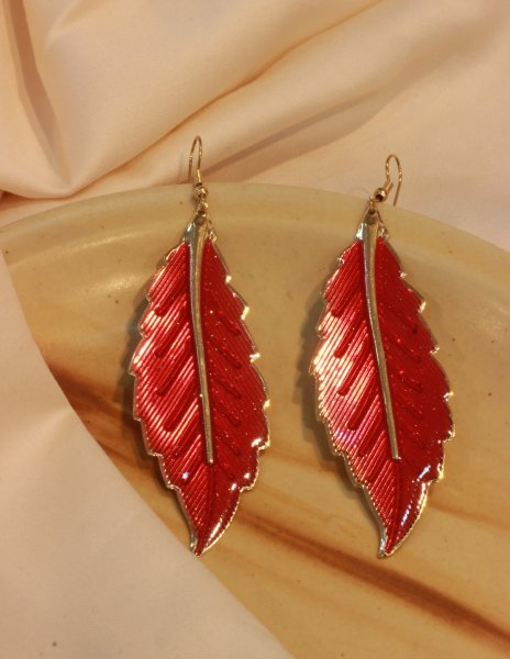 Red Leaf Dangle EarRings