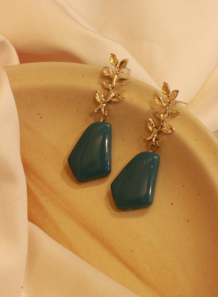 Serenity Leaf Shaped Drop EarRings