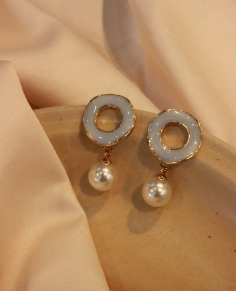 Round Faux Pearl Drop Earrings