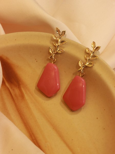 Regal Ruby Leaf Shaped Drop EarRings