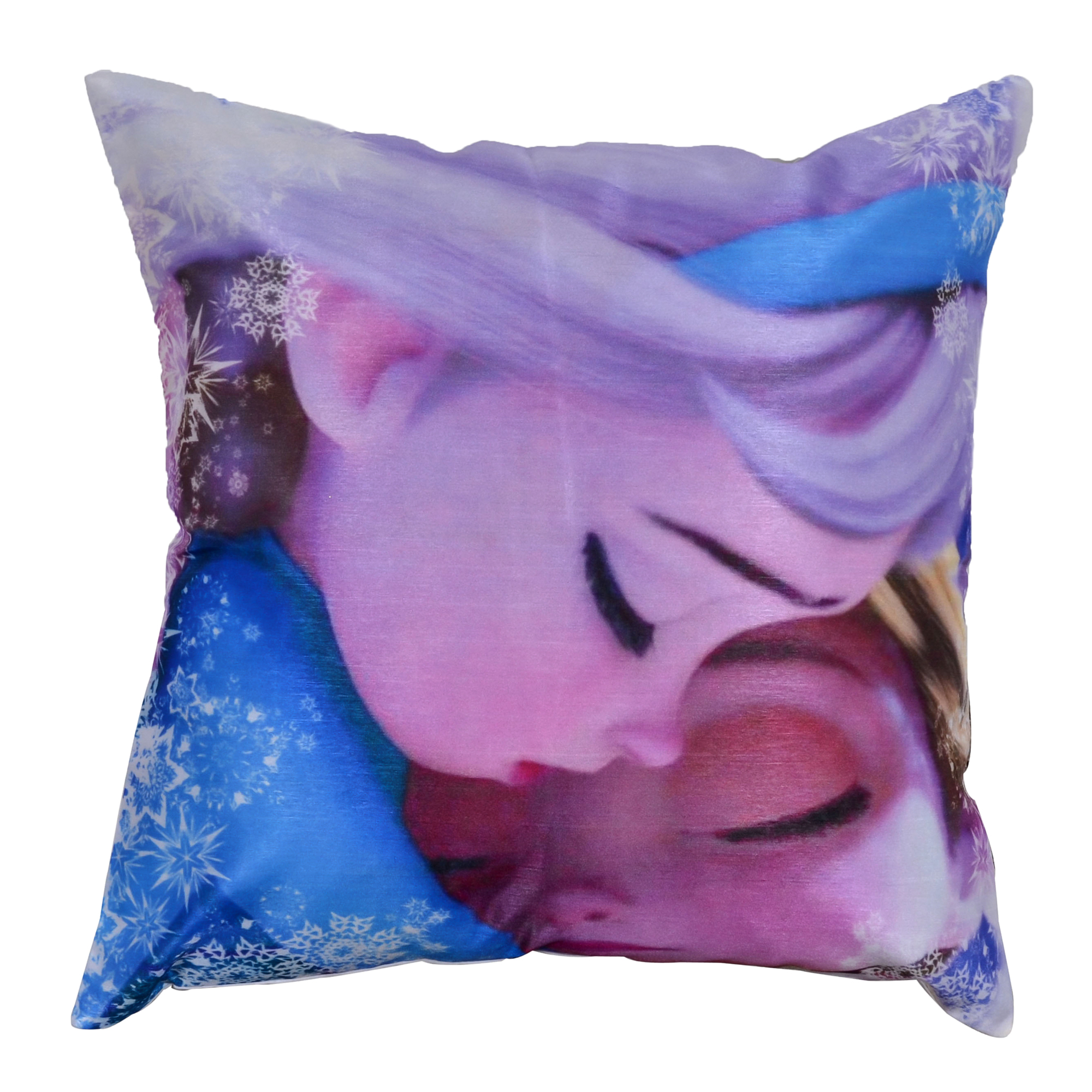 Elsa & Anna Frozen Movie Digital Print Polyester Cushion Cover 16x16""