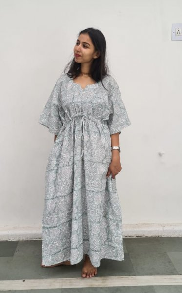 Saumya Hand Block Printed Cotton Kaftan