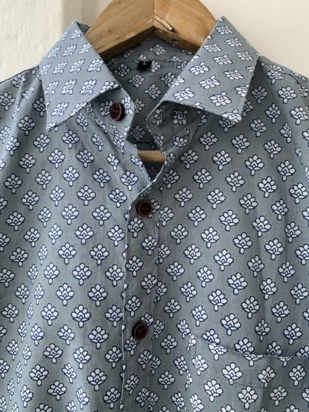 Grey Printed Cotton Slim Fit Shirt