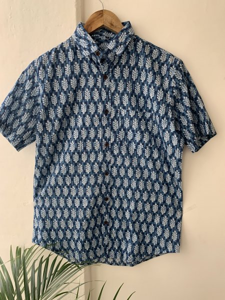 Indigo Printed Cotton Shirt