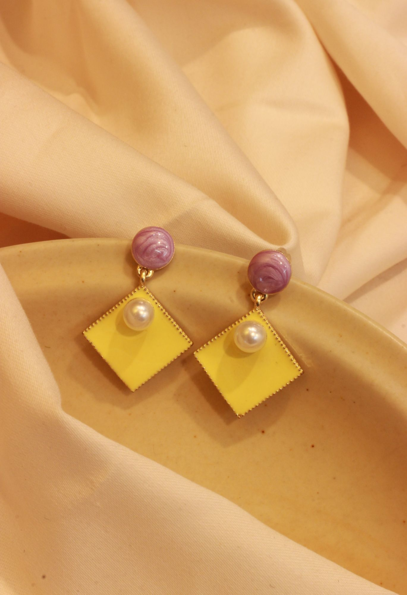 Lemon Pearl Drop EarRings
